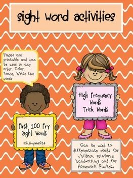 Sight Word Page Activities   We all know how important sight word recognition is! This packet was designed to reinforce sight word recognition. It  contains the first 100 Fry Sight Words. It can be used as a packet or you can run off pages by word to reinforce a particular word with which a student needs to work.