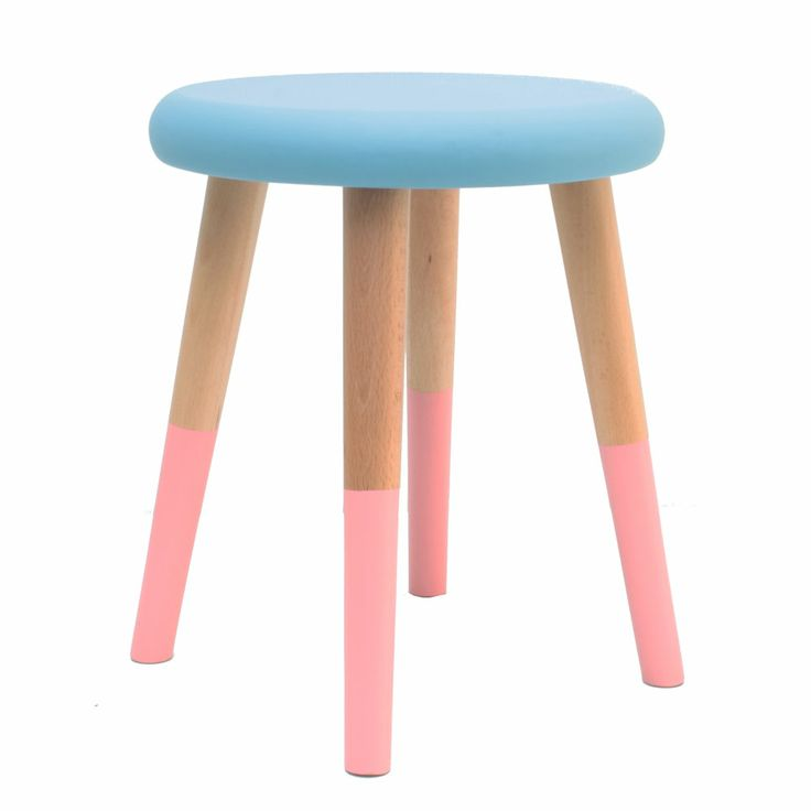 Alice stool, Blue milk with salmon pink designed by Rose in April