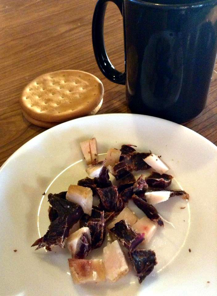 After a few days of smoking and drying, the dried moose meat (aka dry meat) is ready to eat with some Pilot Bread crackers and hot tea. Photo by Josephine Derendoff of Huslia Smoking Moose Meat in Interior #Alaska - new on the Athabascan Woman blog http://wp.me/p1hfmu-wj