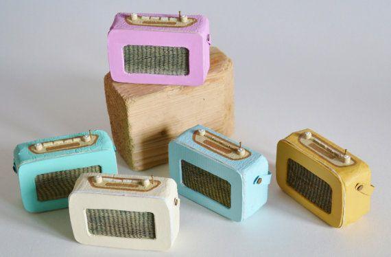 Miniature Handmade Wooden Retro Radio. Baby by HSDesignsCornwall