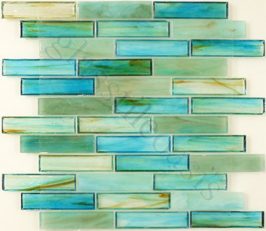 """Botanical Glass  Bathroom, 1"""" x 4"""", Caribbean, Glossy, Green, Glass -I don't think I would get in trouble from the tile gods if I used it in the kitchen"""