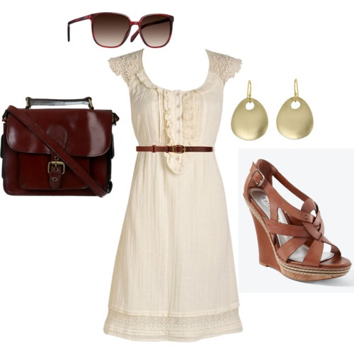 white dress & brown wedges: Shoes, Summer Dresses, Fashion, Style, Cute Dresses, Summer Outfits, White Dress, The Dresses, Lace Dresses