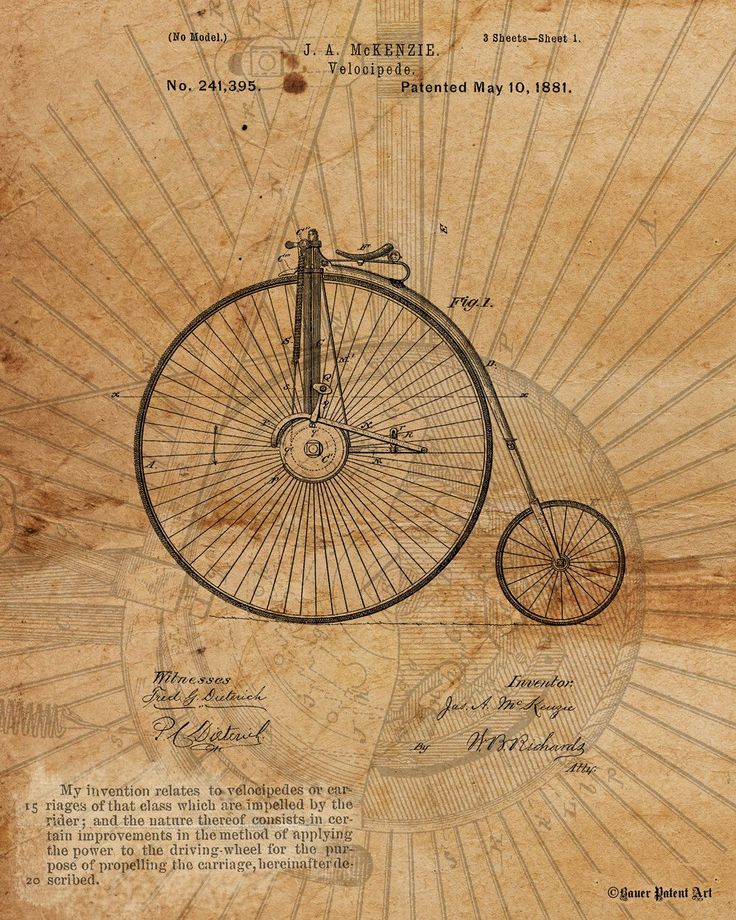 "Title: Vintage Patent Drawing Art of Velocipede Size: 8"" x 10"" (available in larger sizes) Medium: Fine art giclee print on gallery wrapped canvas NOTE: room view shown is of one of the larger canvas"