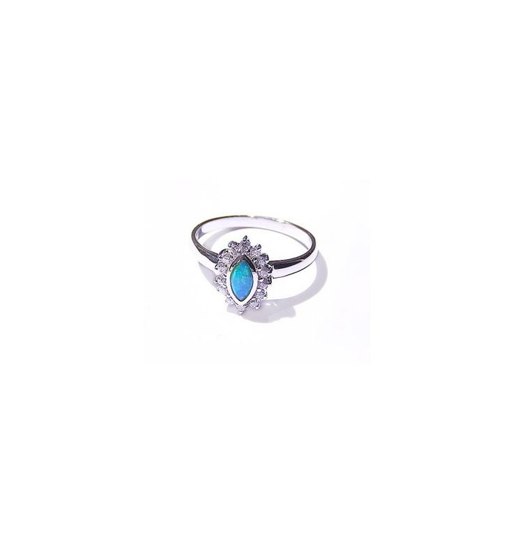 Opal Ring in Sterling Silver surrounded with Diamonds
