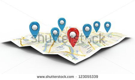 map with Pin Pointers 3d rendering image - stock photo