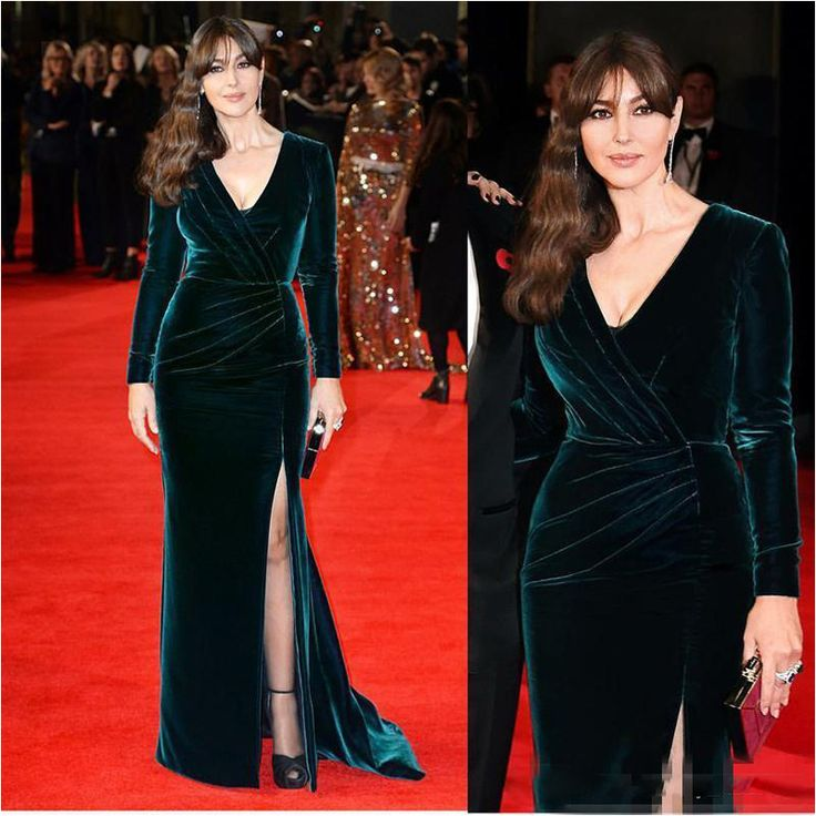 Cheap carpet sisal, Buy Quality carpet equipment directly from China carpet companies Suppliers: Sexy Hunter Velvet Celebrity Monica Bellucci Red Carpet Dresses V Neck Long Sleeves Side Split 2017 Formal Party Occasion Gowns