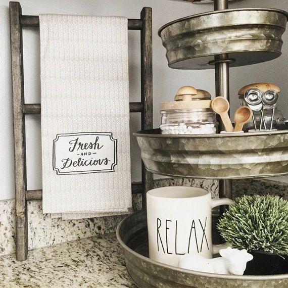 Tea Towel Ladder Hand Towel Ladder Mini Ladder Towel Display Kitchen Decor Bathroom Decor Farmhouse Decor Rustic Decor