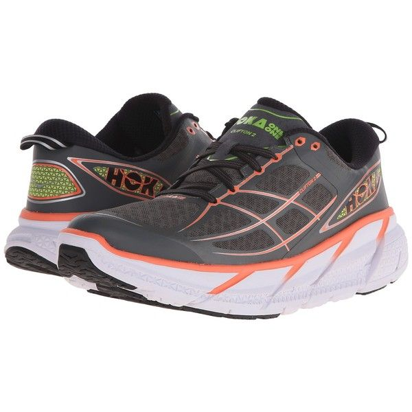 Hoka One One Clifton 2 (Grey/Neon Coral) Women's Running Shoes ($105) ❤ liked on Polyvore featuring shoes, athletic shoes, coral shoes, neon running shoes, rocker shoes, wide running shoes and running shoes
