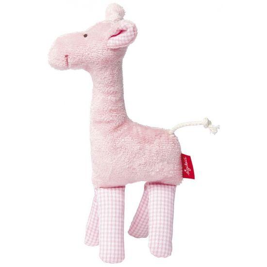 Pluche giraffe knuffel roze 19 cm. Een schattige en zachte knuffel van Sigikid in de vorm van een giraf. Gemaakt van super zacht pluche en organisch katoen met rammelaar. Een leuk cadeau voor het pasgeboren meisje. Formaat: ongeveer 19 cm.
