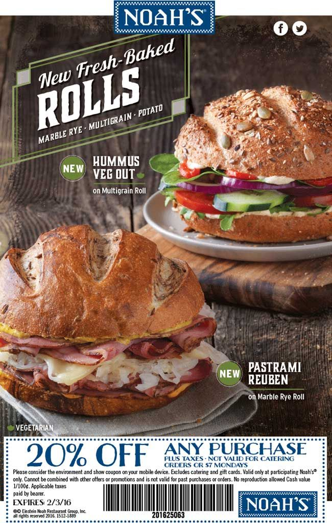 Pinned January 26th: 20% off at Noahs bagels #coupon via The #Coupons App