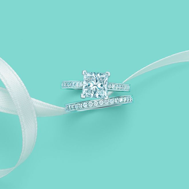 Tiffany Grace diamond engagement ring with a matching wedding band. #TiffanyPinterest