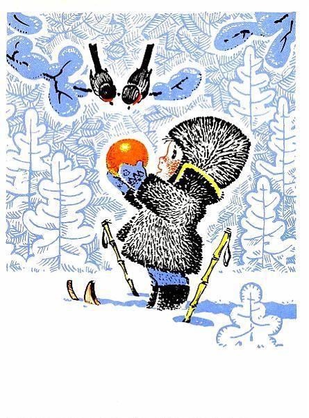 Russian vintage New Year's postcard, 1969, artist Vladimir Zarubin. #illustrations