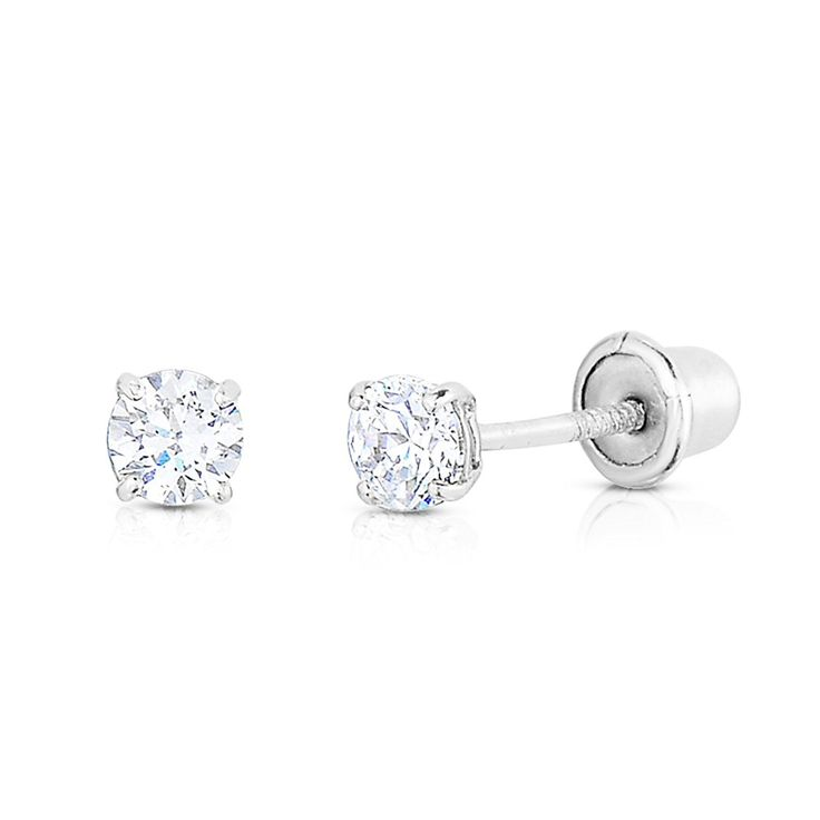 Tiny 14k Gold Round 2mm CZ Solitaire Stud Screw-back Earrings, Cartilage or Second Hole Piercing * Details can be found by clicking on the image. (This is an affiliate link) #JewelryForWomen