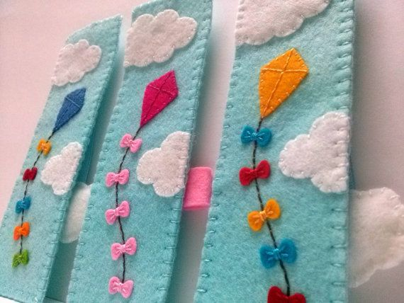Felt bookmark kite flying on blue sky unique by DusiCrafts on Etsy