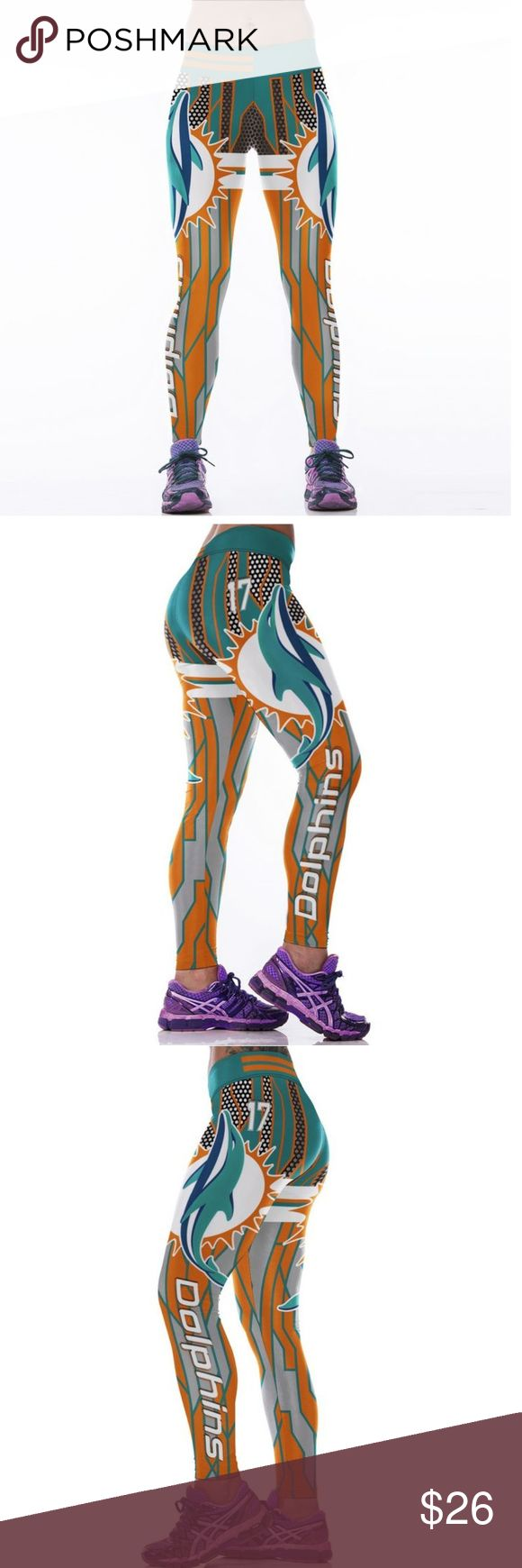 Miami Dolphins NFL Leggings Root for your favorite team in these high quality NFL leggings! Perfect wardrobe addition while watching Sunday football games. The vivid colors and designs are sure to turn heads! Get a pair now while they last to show your team support every week as they inch their way to the glorious Super Bowl Condition: Brand New in Packaging Material: Spandex / Polyester Measurements:  (Length / Waist / Hip) S/M: 36 / 27.5-37 / 33-41.5 L/XL: 36.5 / 30–39.5 / 35.5-44 Price…