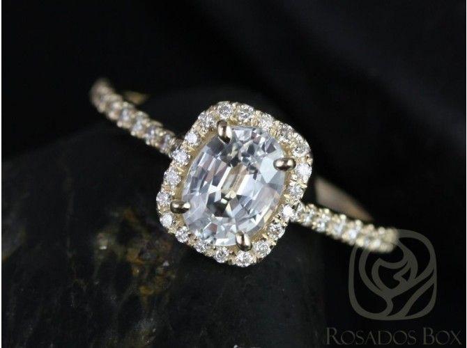 Rosados Box Romani 7x5mm 14kt Yellow Gold White Sapphire and Diamonds Cushion Halo Engagement Ring
