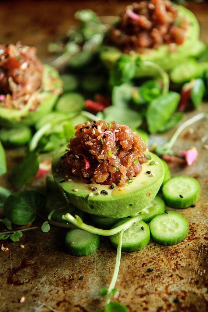 Spicy Tuna Stuffed Avocados from HeatherChristo.com