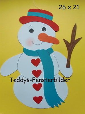 Teddys Fensterbilder 856 ´ Schneemann mit Herzen ` Tonkarton