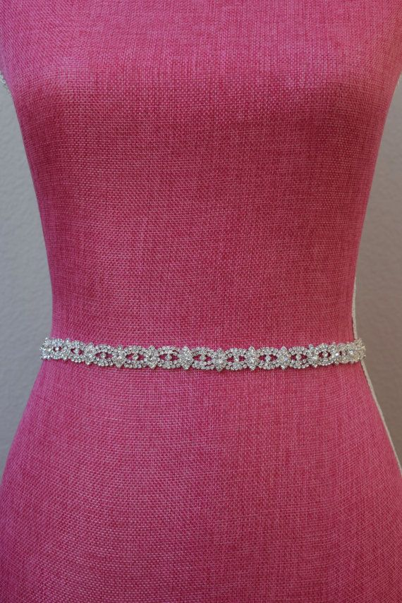 Clearance 11 Thin Crystal Rhinestone Belt by BridalBeltsandSashes