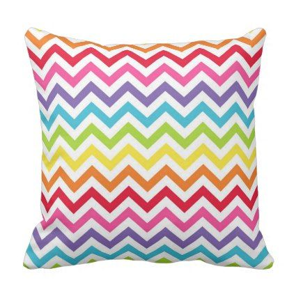Rainbow Chevron Pattern Throw Pillow - Xmas ChristmasEve Christmas Eve Christmas merry xmas family kids gifts holidays Santa