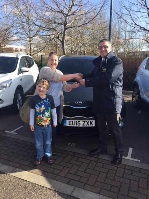 A very happy mum and son!  Emily Hicks took delivery of a new #15Plate seven-seat Kia Carens. Perfect for ferrying around the family.