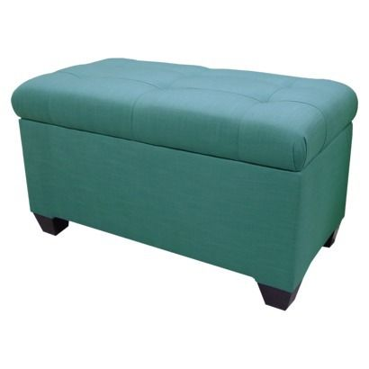 Melbourne Linen Double Storage Ottoman In Teal For Living Room