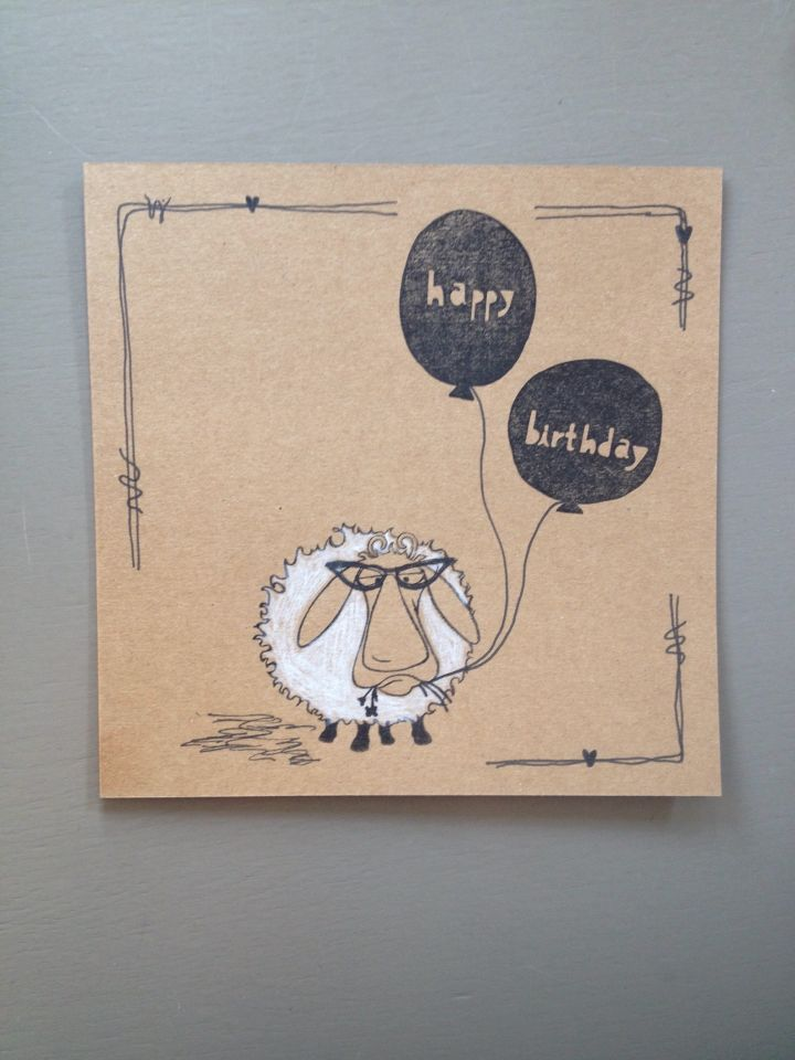 Birthday card - Stamps sheep: Hobby Art Ltd Baa-Humbug - Stamps balloons: Yellow owl workshop