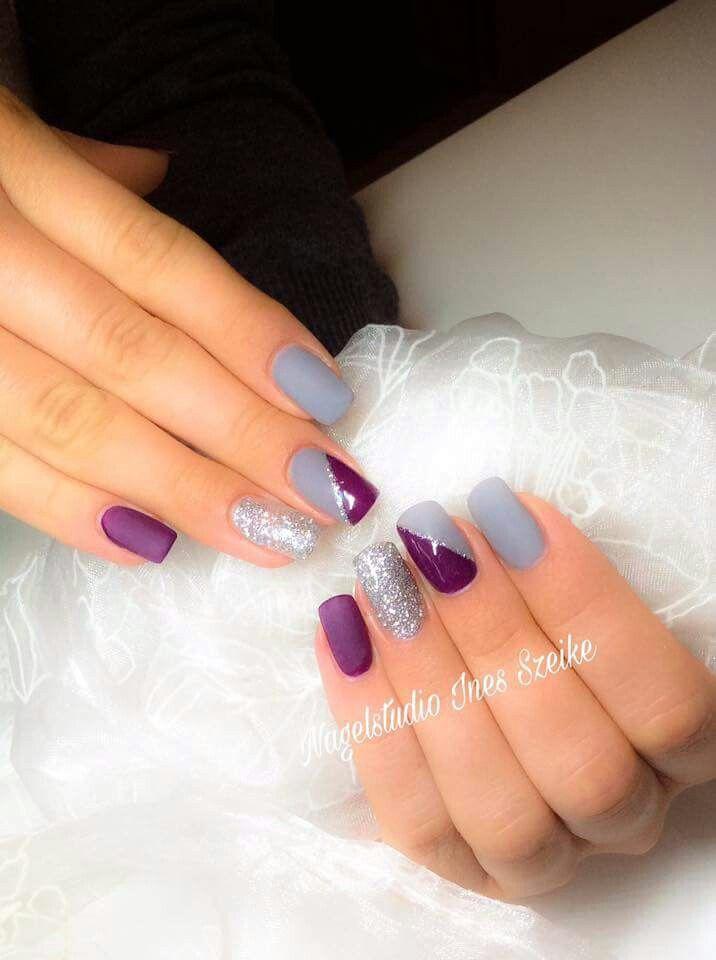 Purple grey gel nails