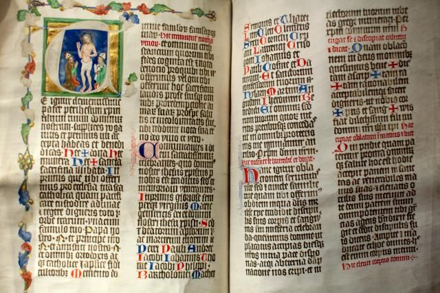Scripture Reading for the First Sunday of Lent: Albert of of Sternberk's pontifical, Strahov Monastery Library, Prague, Czech Republic.