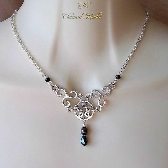 Pentagram & Triskele Necklace Hematite by TheCharmedMaiden on Etsy