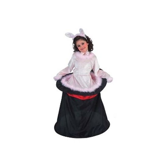 Voordelig konijn uit hoge hoed kostuum voor kinderen. Ga verkleed als de assistente van de goochelaar met dit grappige kostuum! Het kostuum bestaat uit een jurk met hoepel, een vlinderstrikje en een diadeem met konijnenoren. Materiaal: 100% polyester.