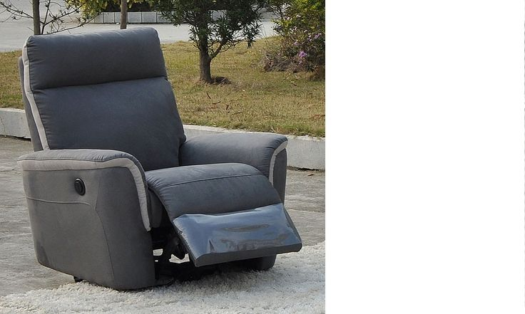 Fauteuil relax électrique gris en tissu OBAR