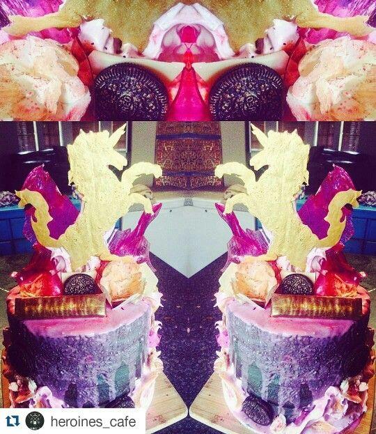 Devil's food cake, chocolate mousse, gold unicorn, sugar shards, pink chocolate drip