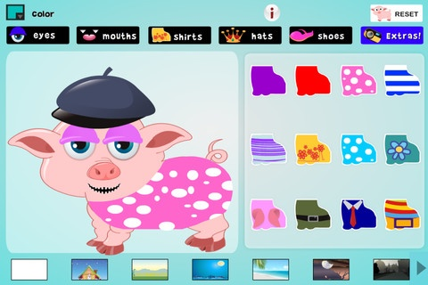 Dress the Pig ($0.00) This is a fun dress-up or storyboarding app for children where you dress a cute pig. You can color the pig, make her into an astronaut, change her eyes, shoes, shirt, mouth, hat, and more! Includes: 13 colorful backgrounds with animated effects, 24 pairs of eyes, 12 shirts, 25 hats, 24 mouths, 24 shoes, and 16 interesting extras.