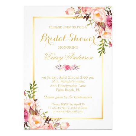 Wedding Bridal Shower Chic Floral Golden Frame Card - click/tap to personalize and buy