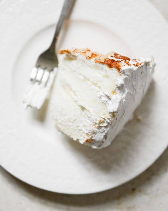 angel food layer cake with whipped coconut cream and grapefruit syrup.