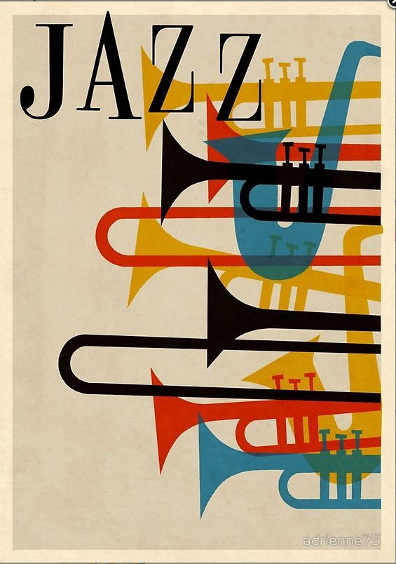 jazz music spirit sax trumpet horn saxophone french beatnik vintage retro hip hep 1950s 50s poster graphic 1950's 50's red blue yellow black festival
