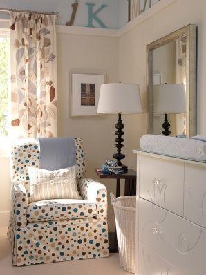 Sarah Richardson Design: Cute blue & tan boy's nursery design! Polka dot glider, picture ledge and changing ...