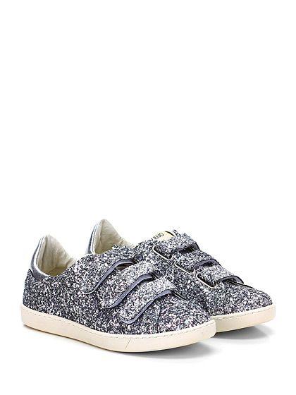 LIU.JO - Sneakers - Donna - Sneaker in glitter e pelle laminata con multi cinturino a strap e suola in gomma. Tacco 20, platform 15 con battuta 5. Strass su retro. - SILVER