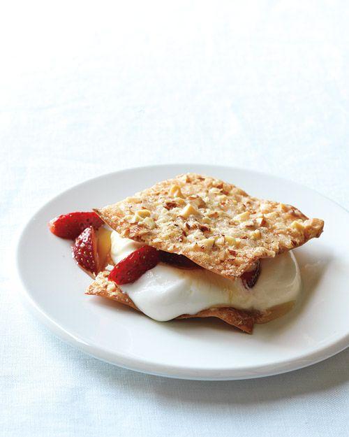 Crisp Wontons with Strawberries and Yogurt - Martha Stewart Recipes