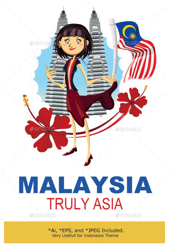 Tourism in Malaysia Truly Asia Illustration