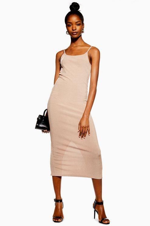77241a0ddae Womens Ribbed Midi Bodycon Dress - Nude in 2019