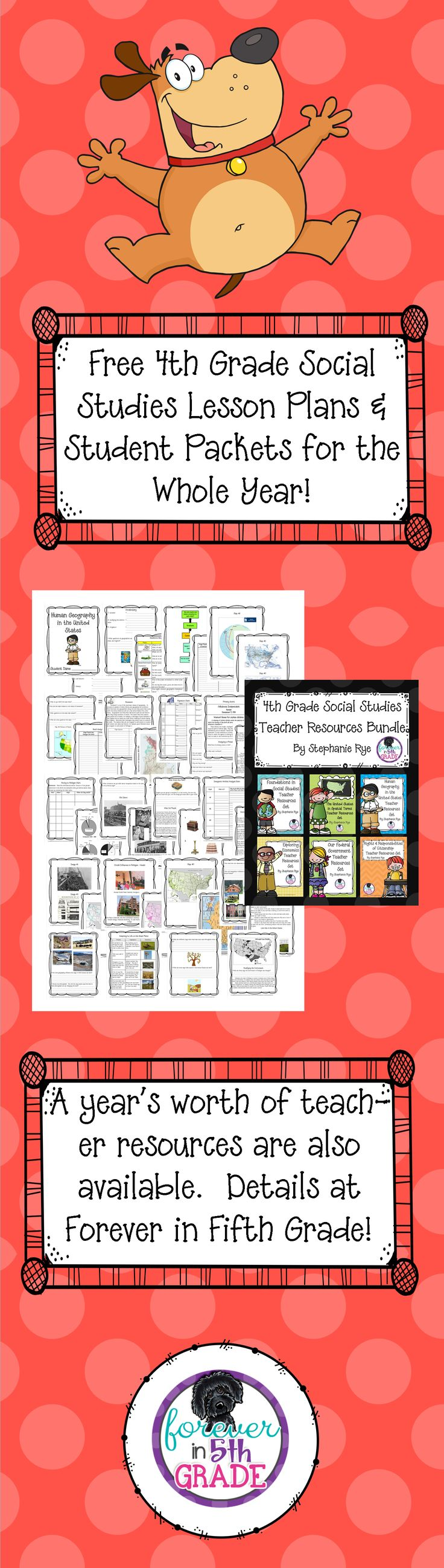 Free 4th Grade Social Studies Lesson Plans and Student Packets for the Whole Year!  Details at Forever in Fifth Grade!