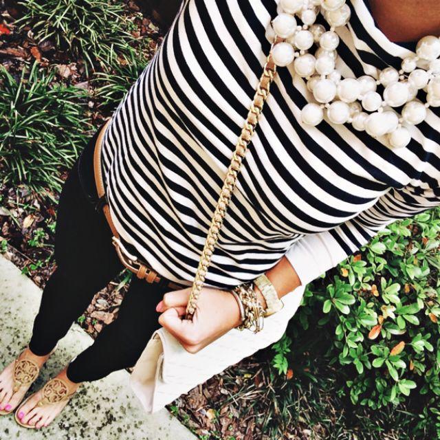Black pants + striped shirt + pearls + belt + sandals. Prep talk!