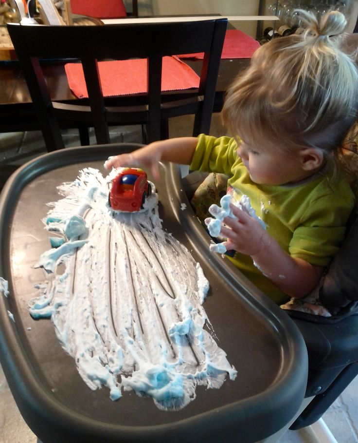 Toddler activities, shaving cream and toys