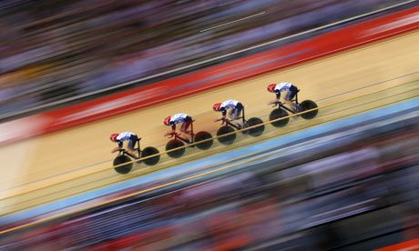 Geraint Thomas, Steven Burke, Edward Clancy and Peter Kennaugh, Team GB Team Pursuit Qualifying, during WR time  Photograph: Cameron Spencer/Getty Images