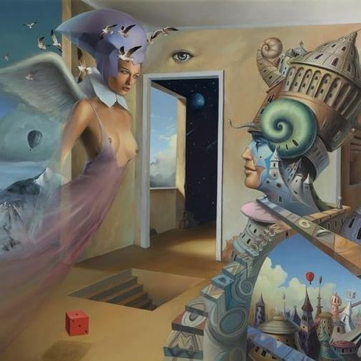 """What you seek is seeking you."" ― Rumi ❇   Tomek Sętowski  #surreal #surrealart #surrealism #surrealismo #surrealisme #art #creativity #instaart #painting #love #amore #amour #amor #attraction #lovers"