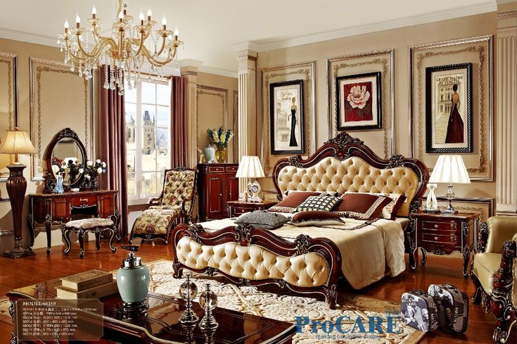 Find More Bedroom Sets Information about Russian style red solid wood bedroom furniture set with real leather bed, dresser,nightstand,shoes cabinet,rocking chair 6015,High Quality bedroom furniture sets,China furniture set Suppliers, Cheap solid wood bedroom set from FOSHAN ProCARE Store on Aliexpress.com