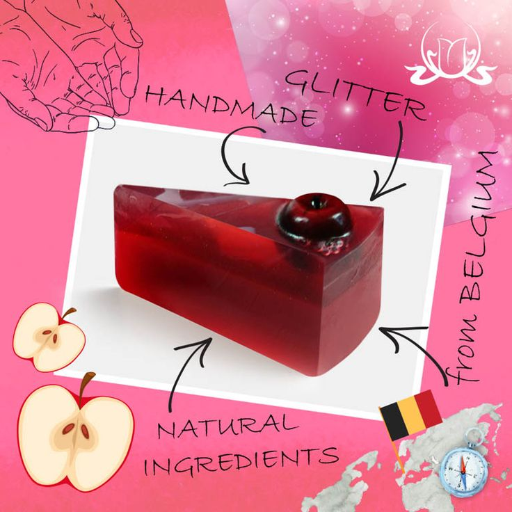 Taste of nature!  Ringed with decorative apples on a combination of sparkling red #soap base, finished with white stripes gives a luxury touch.  The crunchy, juicy and fresh #apple aroma takes you into an apple garden, surrounded with a mixture of fresh fruity scents of apple, pear and peach.  This soap pie is finished with the sparkling glitter of a shining red apple.  #Soap #naturalsoap #handmade