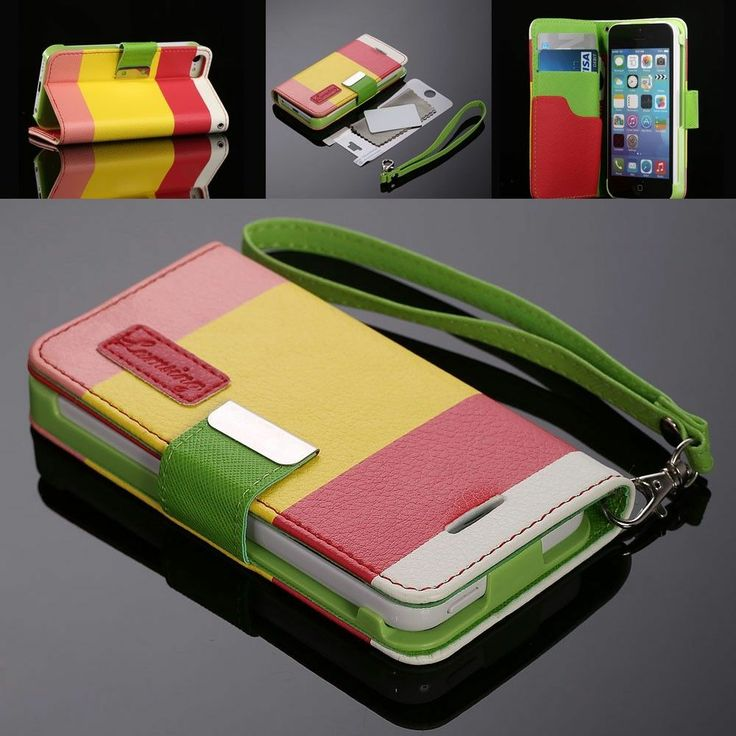 For iPhone 5C 5 C Hybrid Leather Wallet Flip Stand Case Hard Cover + Protector